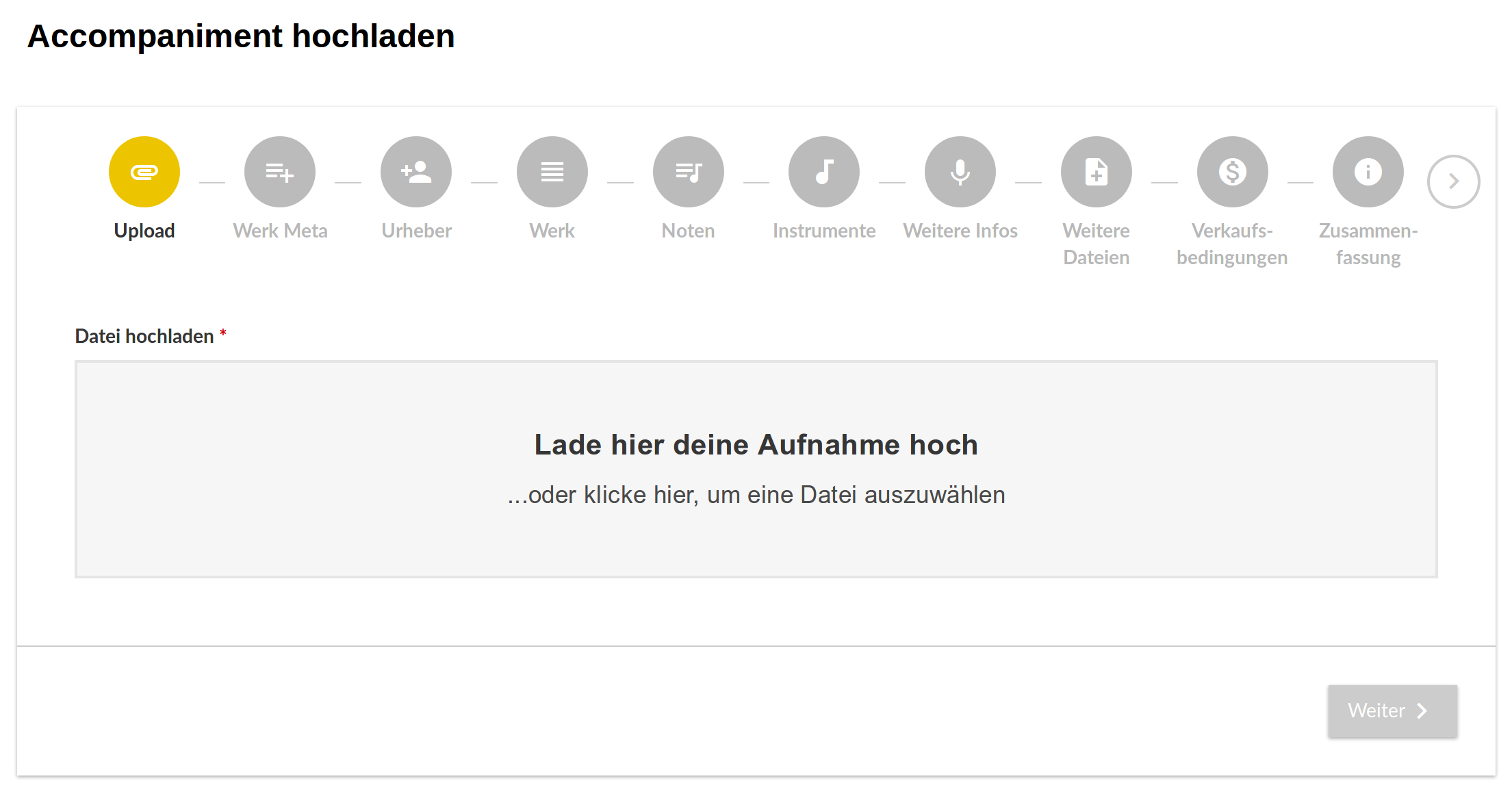 Neues Upload-Formular